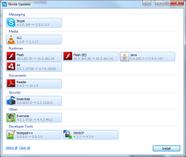 Ninite com, my favorite downloader now has an Updater  I